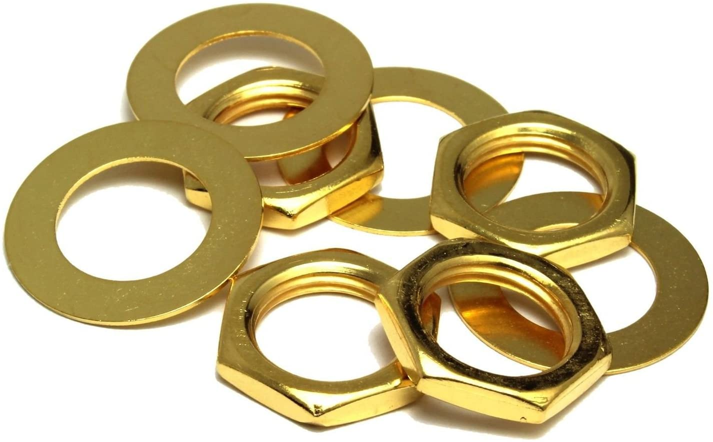 bangdan Guitar nuts and dress washers for US CTS Pots & Switchcraft Jacks, gold
