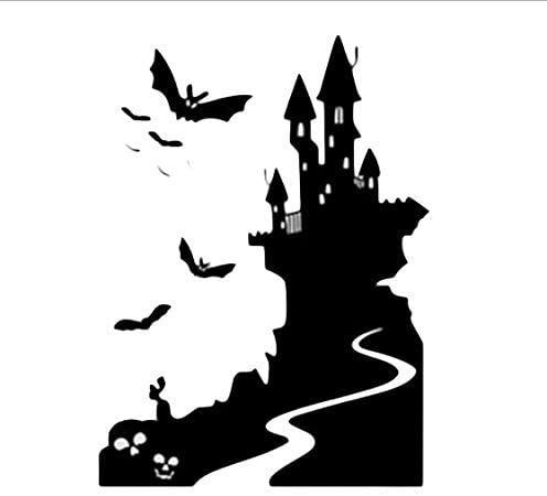 ikgjad Halloween Wall Sticker, Happy Halloween Home DIY Bat Castle PVC Mural Decor Decal Removable,Window Home Bedroom Kids Room Decoration 58X79Cm