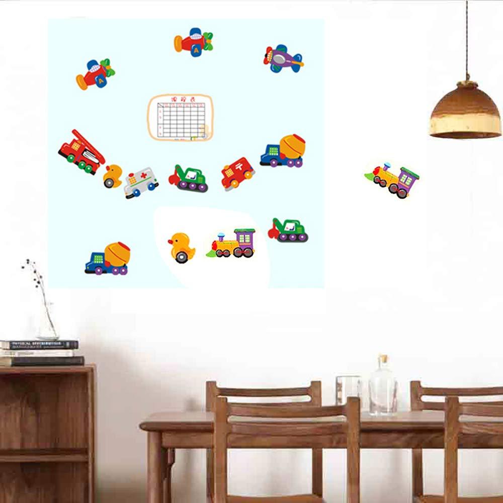 Wall Sticker with Timetable Class Schedule Cartoon Vehicle Transportation Vinyl Decal Decoration for Kids Room Nursery Kindergarten (Size 45x60cm)