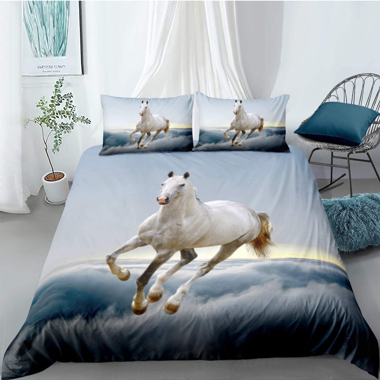 White Horse Duvet Cover Twin Size Blue Bedding Set Animal Horse Pattern 3D Printed Bedding Decor Comforter Cover for Adult Teens Kids 1 Duvet Cover 1 Pillowcase