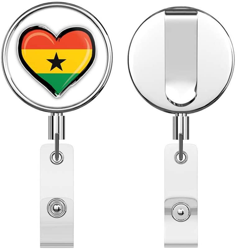 Ghana Flag Grunge Glossy Heart Retractable Reel Chrome Metal Badge ID Card Holder Clip