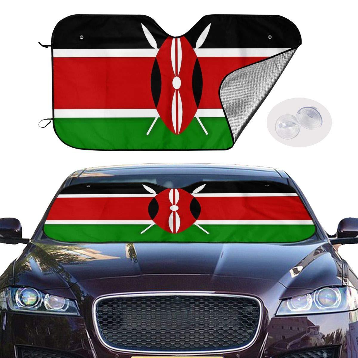 Kenya Flag Car Sunshade Window Windscreen Cover,Automotive Window Protector Sunshade Uv Sun and Heat Reflector for Car Truck SUV,Keep Your Vehicle Cool and Damage Free