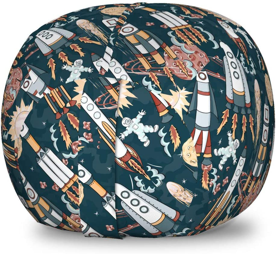 Ambesonne Spaceship Storage Toy Bag Chair, Hand Drawn Space Exploration Themed Cartoon Drawing Style Image Alien Planets, Stuffed Animal Organizer Washable Bag for Kids, Small Size, Navy Blue