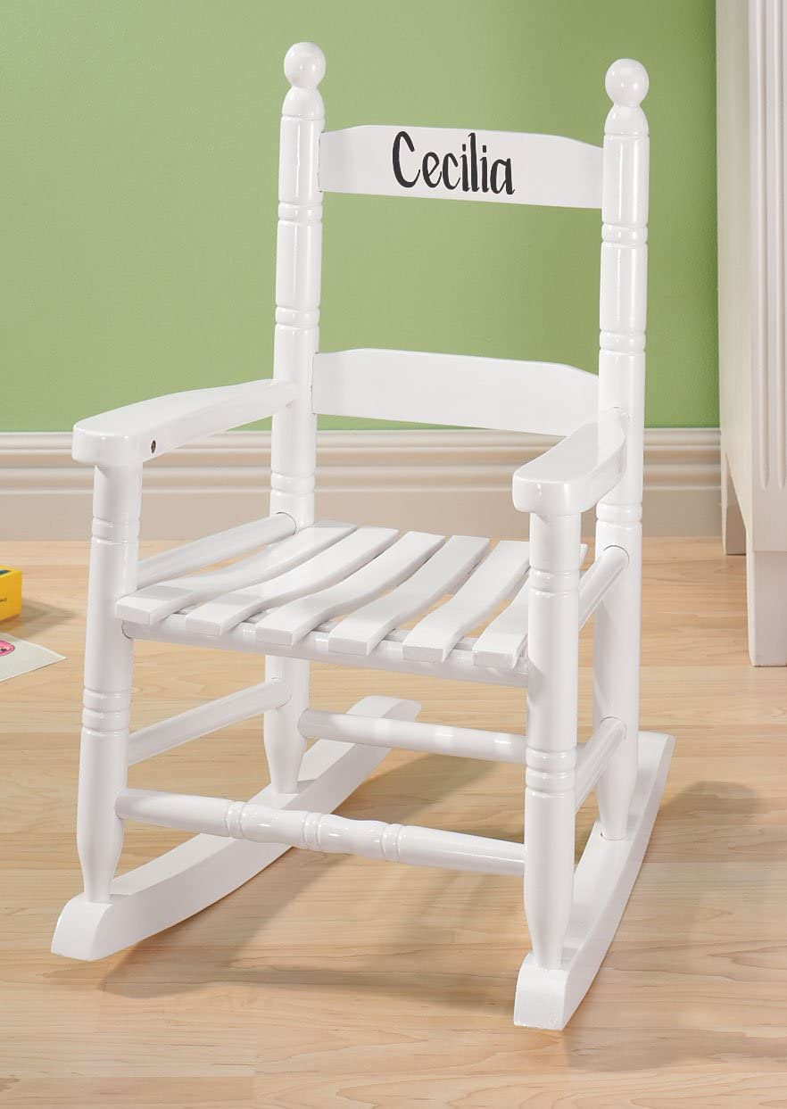 Miles Kimball Personalized Childrens Rocking Chair, Features Classic Rocker Design and Hardwood Construction, White Finish with Black Font
