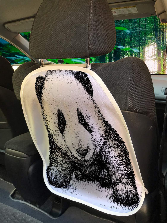 Ambesonne Panda Car Seat Protector Set of 2, Baby Panda Bear Illustration Sketch Style Artwork Nature Wild Animals Theme, Universal Kick Mat for Dirt Mud & Scratches, 18