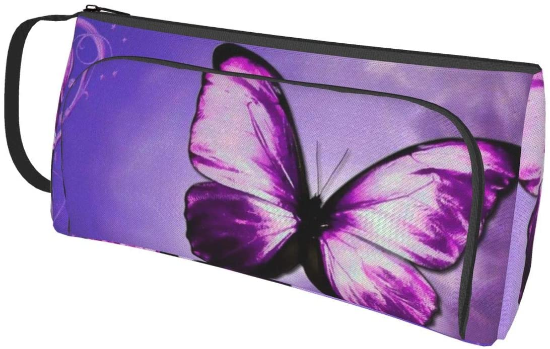 NiYoung Pocket Zipper Pencil Case Zippered Pen Pouches Cosmetic Bag for Purse (Purple Butterfly Art)