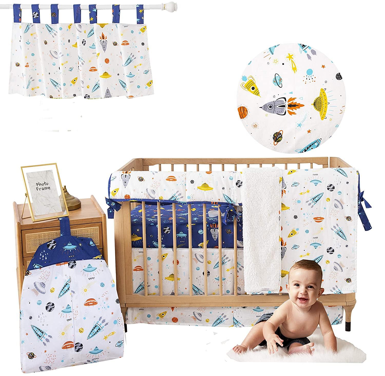 Brandream Baby Boys Crib Bedding Sets Outer Space, Rocket & Planet Nursery Bedding 6 Piece Baby Infant Newborn Galaxy Cradle Blanket Sets 100% Cotton, Navy/White