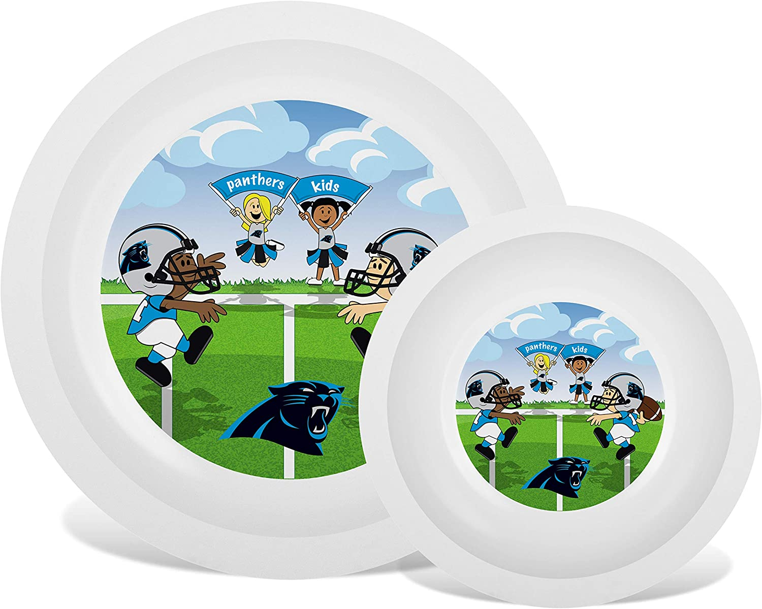 Baby Fanatic NFL Legacy Infant Plate & Bowl Set, Carolina Panthers, for Ages 6 Months & Up
