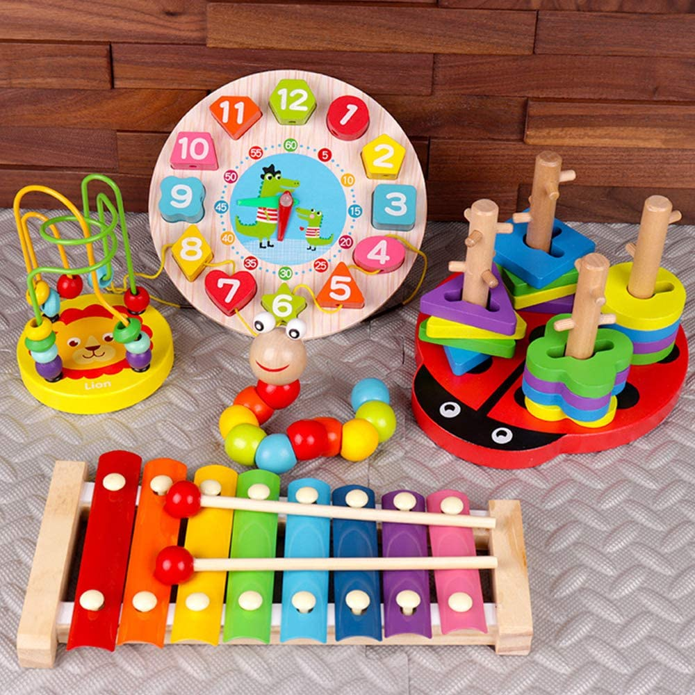 VWMYQ Musical Toddler Musical Instruments Toys 8 Types for Kids Wooden Percussion Instruments Preschool& Educational Music Toy for Boys and Girls (2)