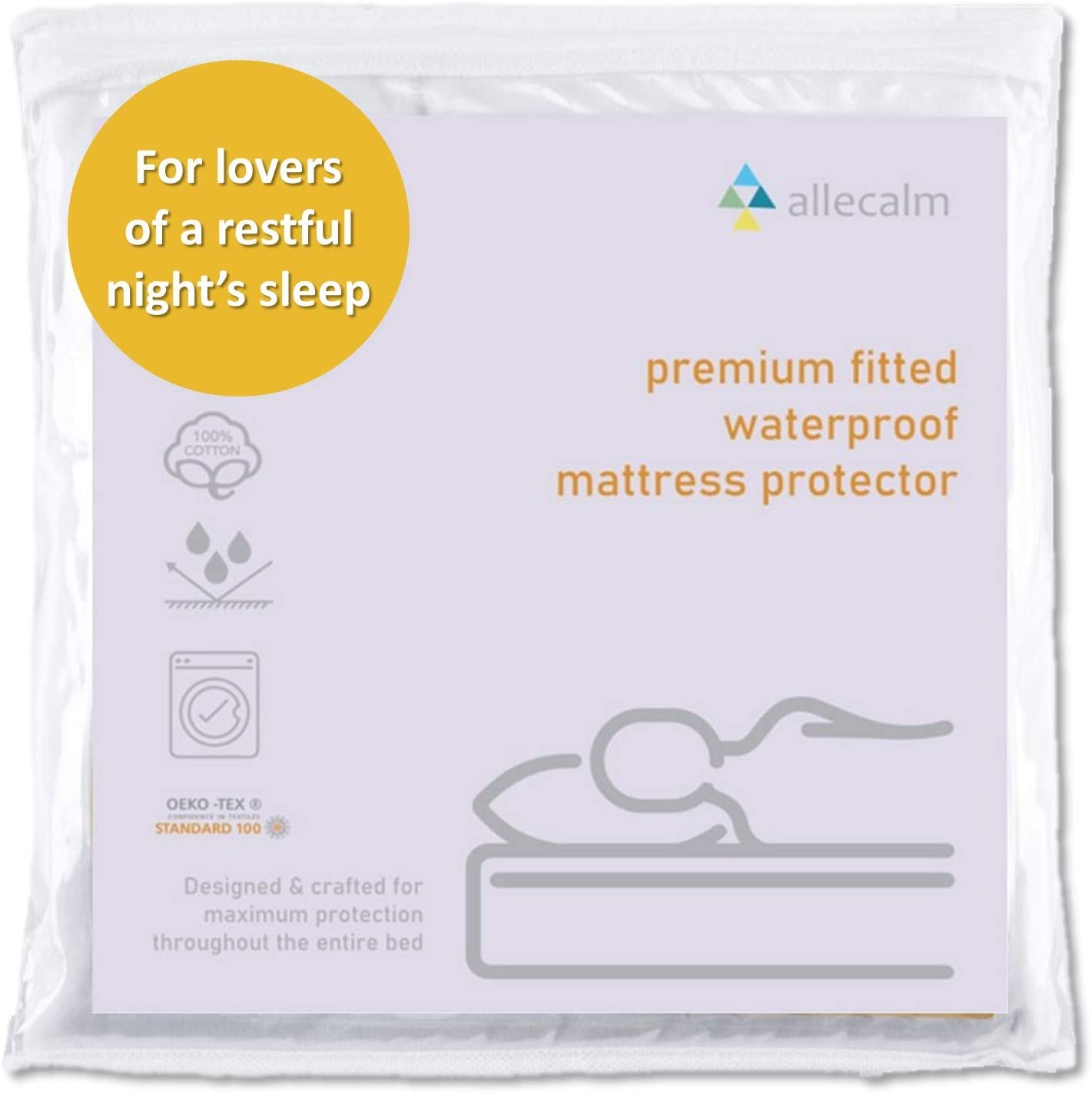 allecalm Twin Size Waterproof Cotton Fitted Mattress Protector, Breathable, Noiseless, Fitted 14