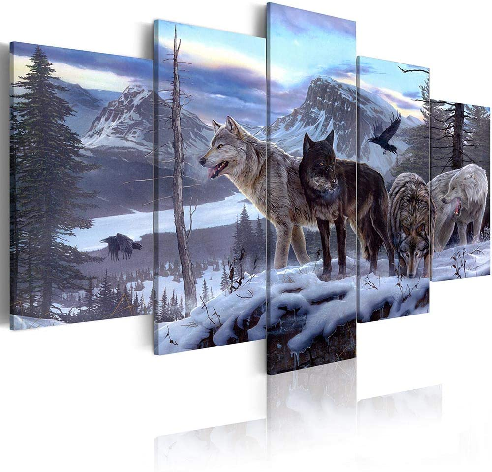 ArtHome520 Blue Winter Landscape Canvas Print Painting Animal Wolf Picture Home Decor Wall Art Living Dining Room Artwork Modern Framed 5 Panel (12x18x2+12x24x2+12x36x1)