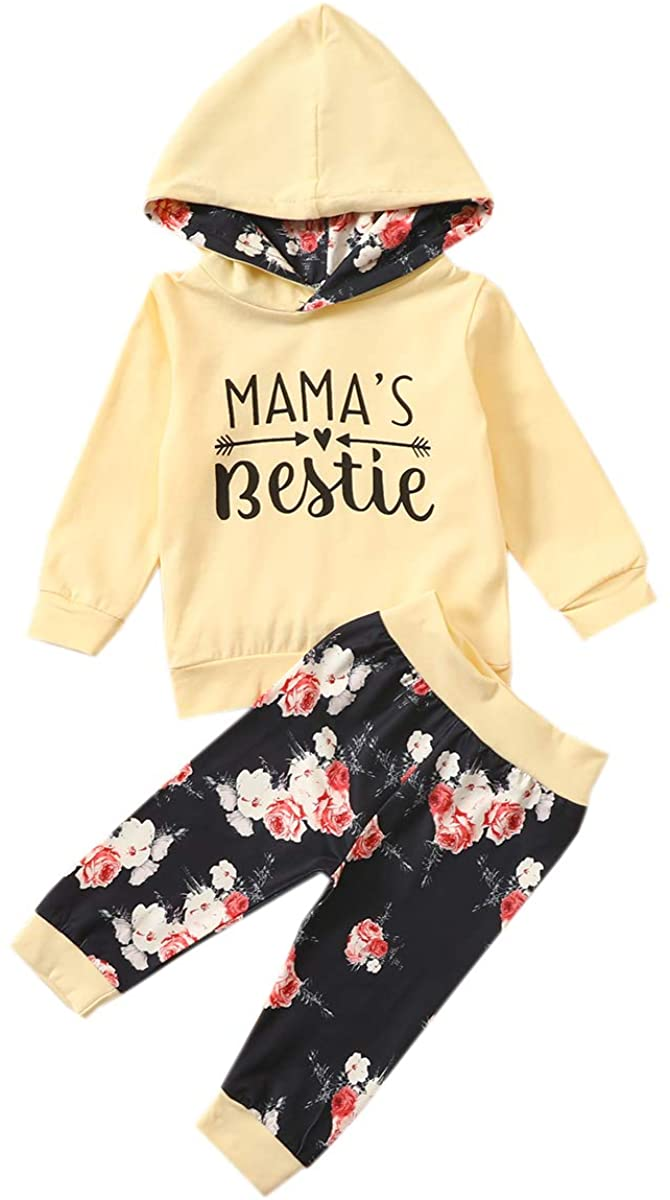 Toddler Baby Girls Fall Hooded Outfits Infant Long Sleeve Letter Pullover Top+Flower Print Trousers 2Pcs Set