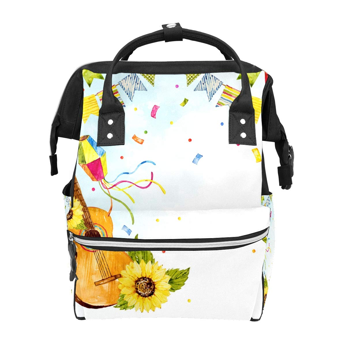 Diaper Bag Backpack, Music Sunflower Guitar Multifunction Travel Back Pack Baby Changing Bags, Large Capacity, Waterproof and Stylish
