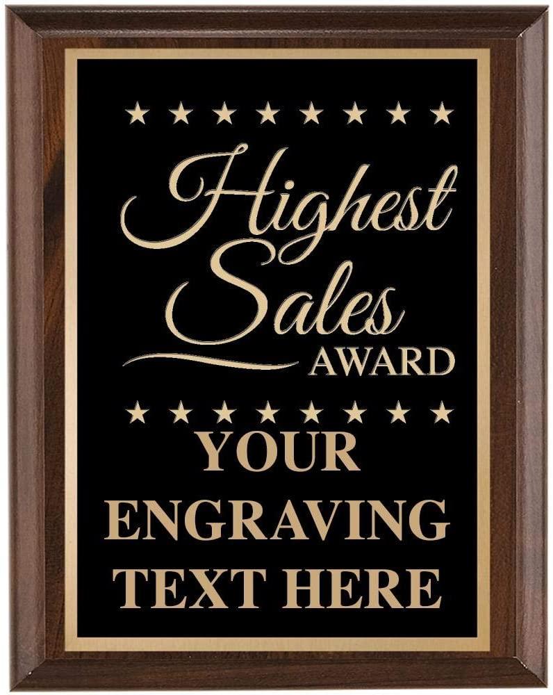 Sales Plaques - 7x9 Highest Sales Plaque Award Prime