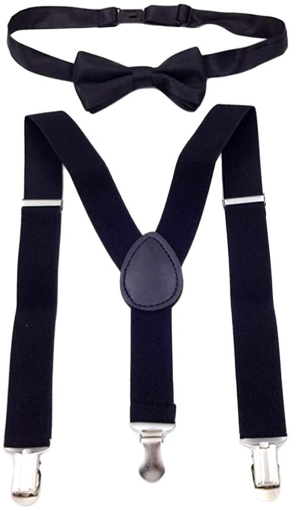 QCWQMYL Suspender Bowtie for Kids Tuxedo Y-Back Leather Brace Elastic Adjustable