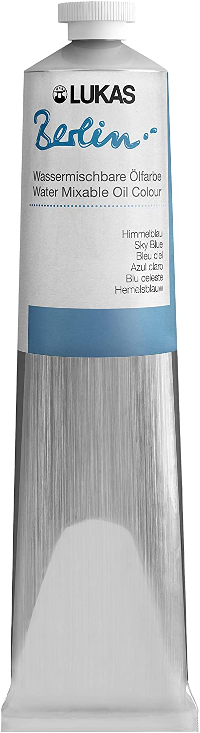 Lukas Berlin Oil 200 ml – Water Mixable Oil Paint in Premium Quality – Sky Blue