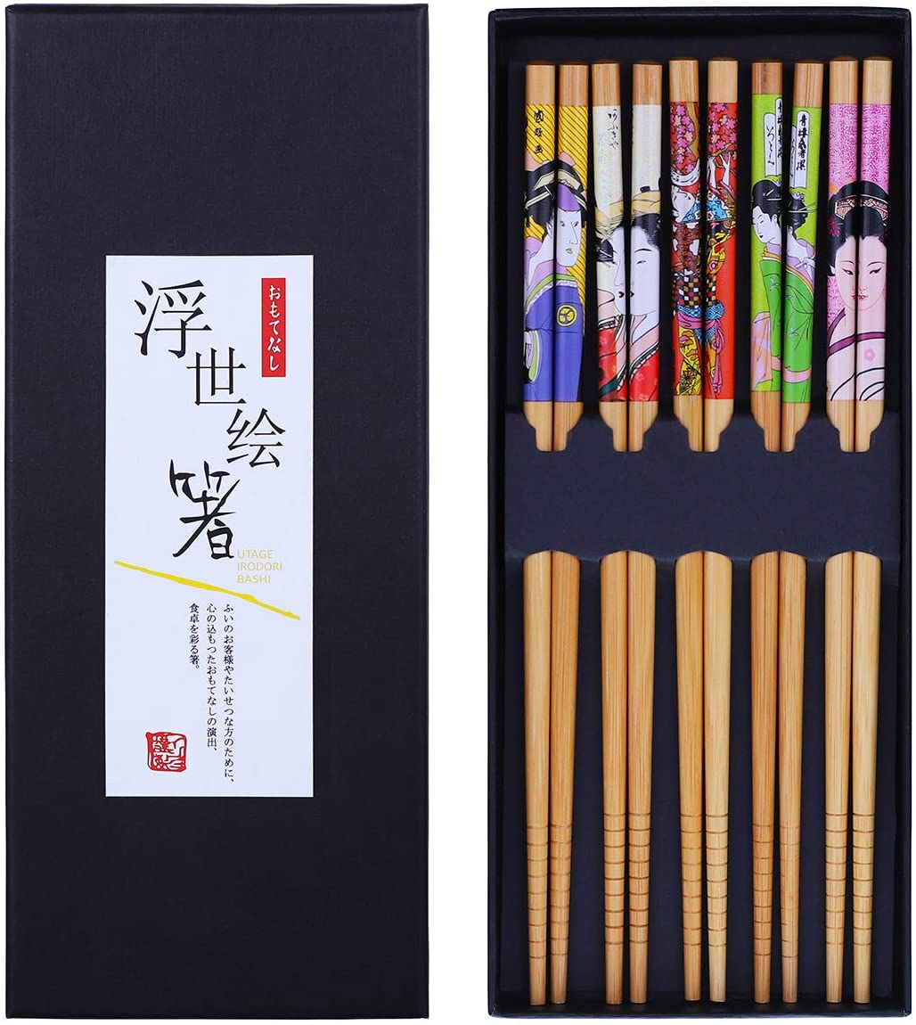 Antner Bamboo Chopsticks 5 Pairs Gift Sets Reusable Japanese Style Chop Sticks, 8.8 inch