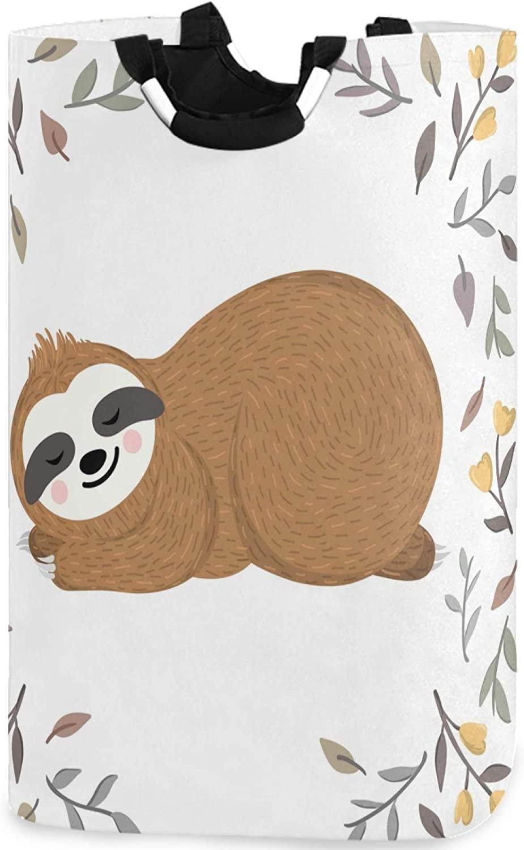 visesunny Cute Baby Sloth Animal Large Capacity Laundry Hamper Basket Water-Resistant Oxford Cloth Storage Baskets for Bedroom, Bathroom, Dorm, Kids Room