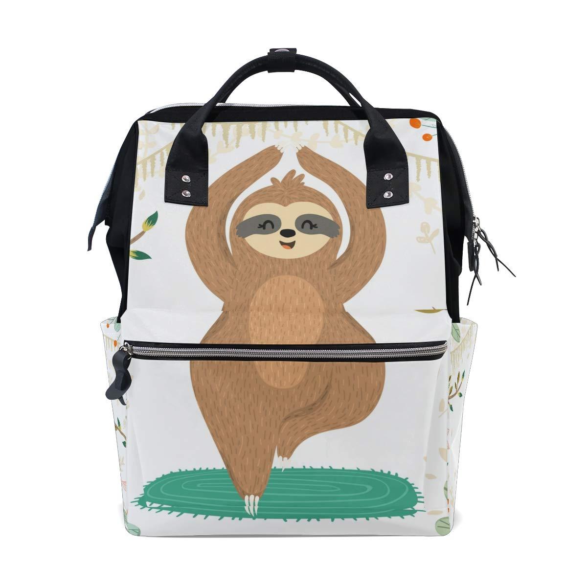 MERRYSUGAR Diaper Bag Backpack Lovely Sloth Yoga White Baby Bag School Backpack Mommy Bag Large Multifunction Travel Bag