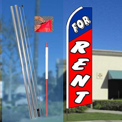 FOR RENT (Blue/Red) Flutter Feather Banner Flag Kit (Flag, Pole, & Ground Mt)