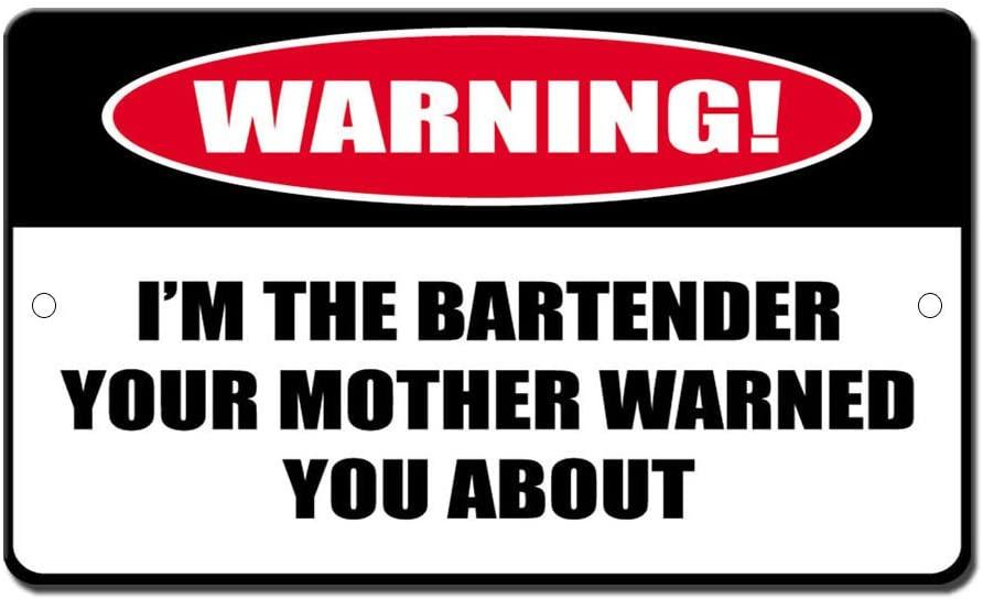 Bartender Mom Warned About Novelty Funny Sign Vinyl Sticker Decal 8