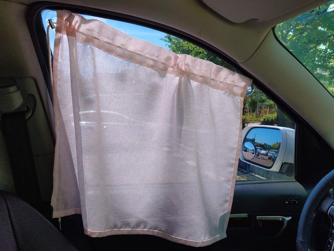 Fabric Car Side Window Curtain Easy to Install or Remove Universal Fit Sun Shade Foldable Privacy Sunshades Screen for Kids Baby Sleeping (Pink)