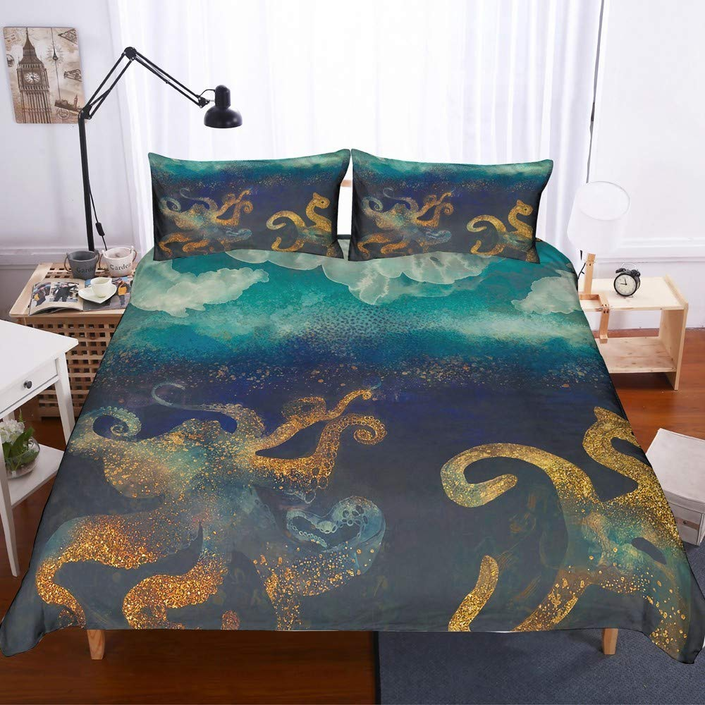 REALIN Octopus Bedding Colored Octopus sea Animals Duvet Cover Set for Children and Adult,Include Microfiber Quilt Cover/Sheet/Pillow Shams,Twin/Full/Queen/King