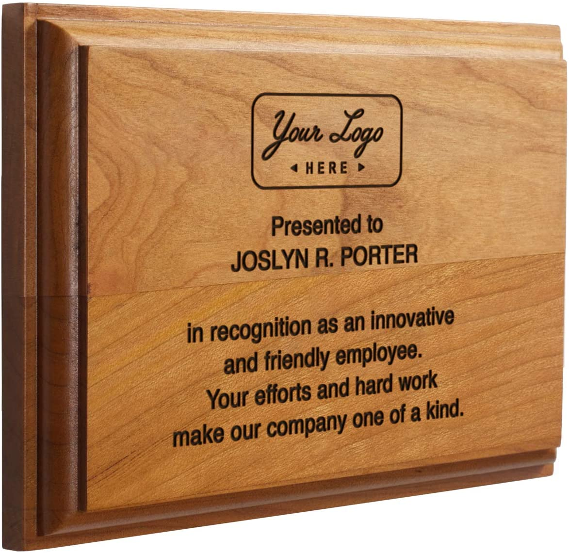 Solid Cherry Award and Recognition Plaque. Great for Retirement, Corporate Awards and Sporting Events. (5 x 7