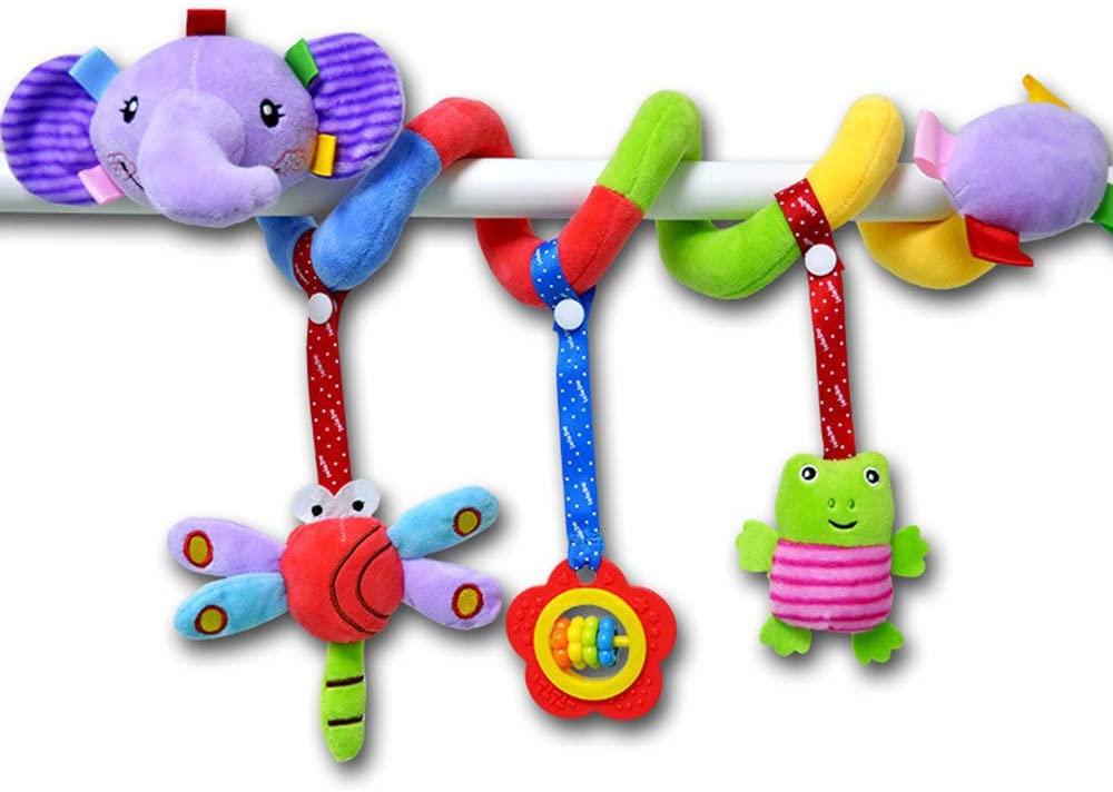 ORZIZRO Car Seat Toys, Infants Baby Spiral Elephant Plush Hanging Toys for Crib Bar Bassinet Stroller Car Seat Mobile