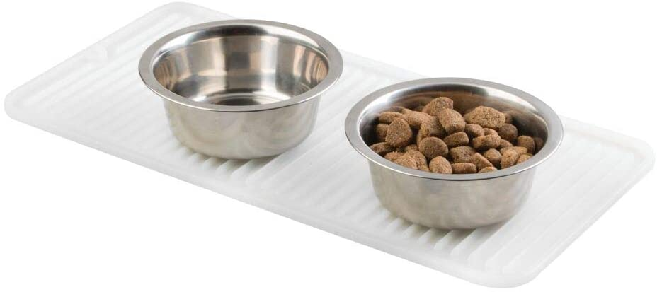 mDesign Premium Quality Pet Food and Water Bowl Feeding Mat for Dogs and Puppies - Waterproof Non-Slip Durable Silicone Placemat - Food Safe, Non-Toxic - Small - White