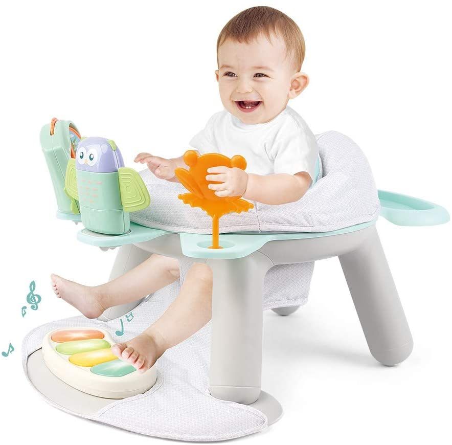 GMOON 2-in-1 Baby Activity Center - Dinner Tray and Game Tray Baby Assisted Learning Seat, with Pedal Piano, 360-Degree Rotating Seat and 5 Fun Toys Baby Bouncer, for Infant Unisex (Multicolour)