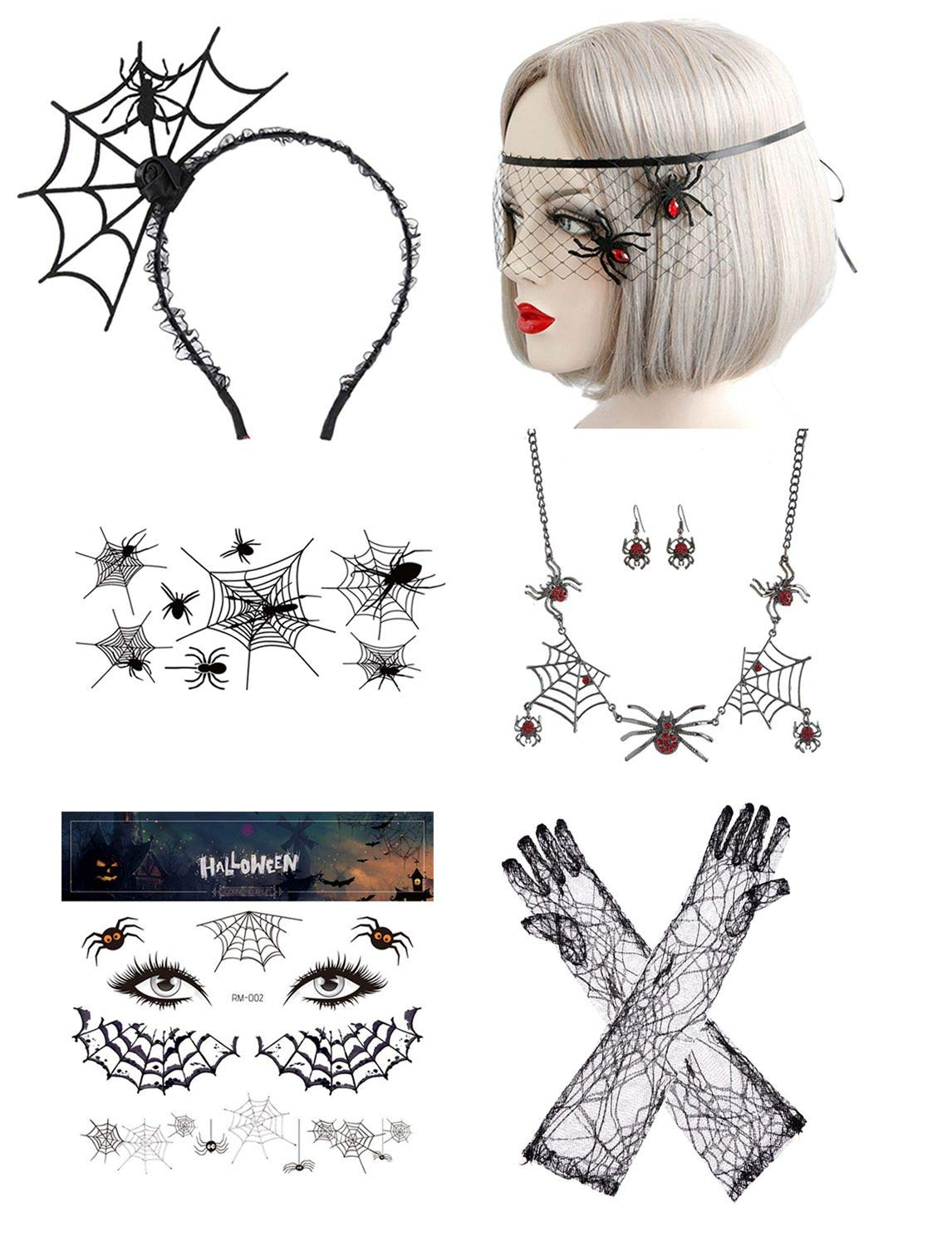 Halloween Gothic Lace Spider Necklace Earring Bracelet Set (#1)