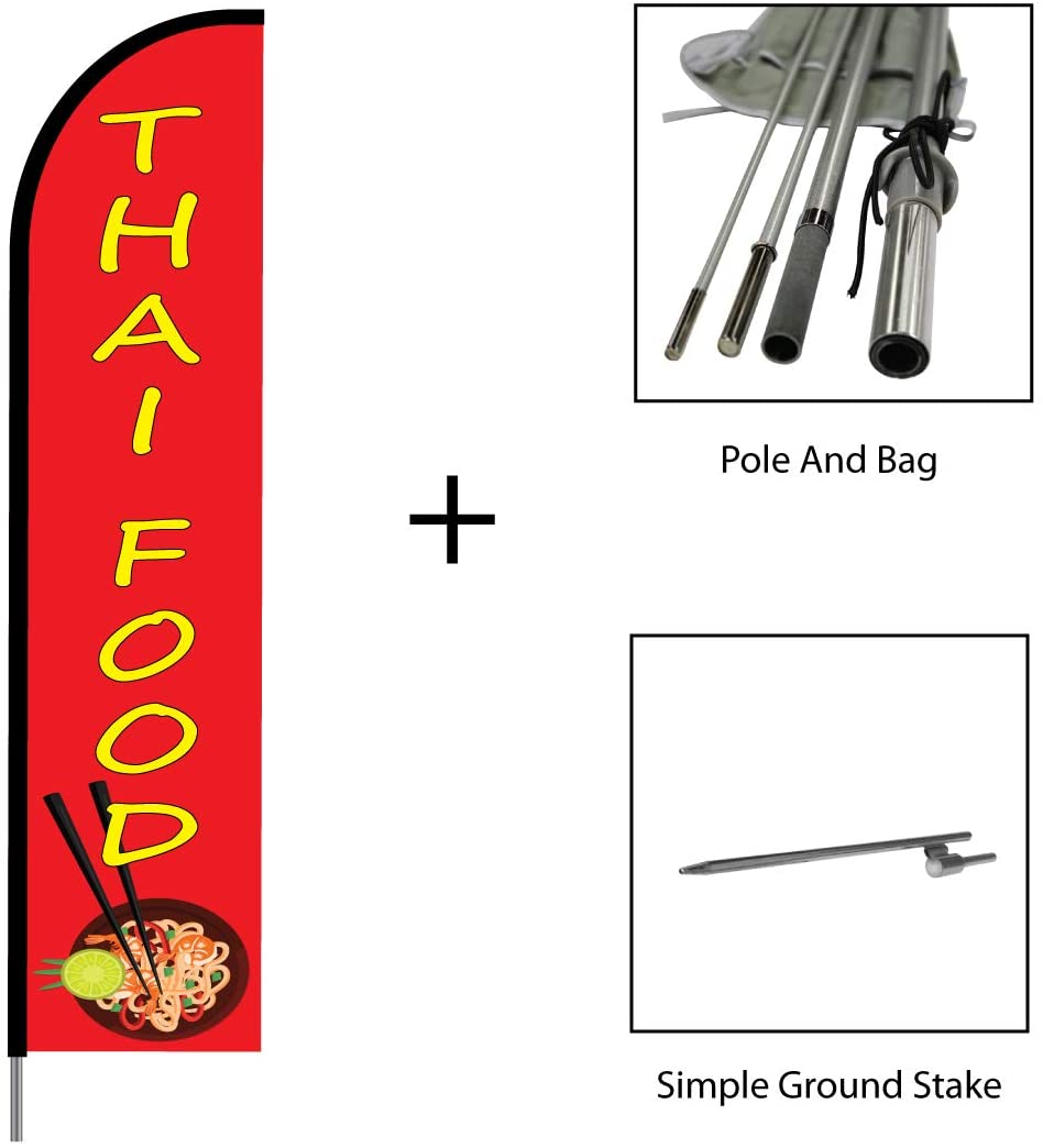Thai Food Sign Banner - Swooper Flutter Feather Flag Pole Kit Outdoor Restaurant Business and Store Sign Display, 15ft