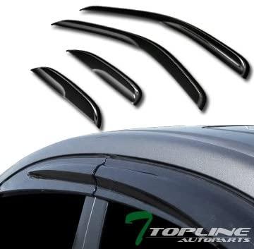 Topline Autopart MU Style Smoke Window Visors Deflector Vent Shade Guard 4 Pieces For 07-13 Chevy Silverado/GMC Sierra 1500/2500 HD / 3500 HD Extended Cab