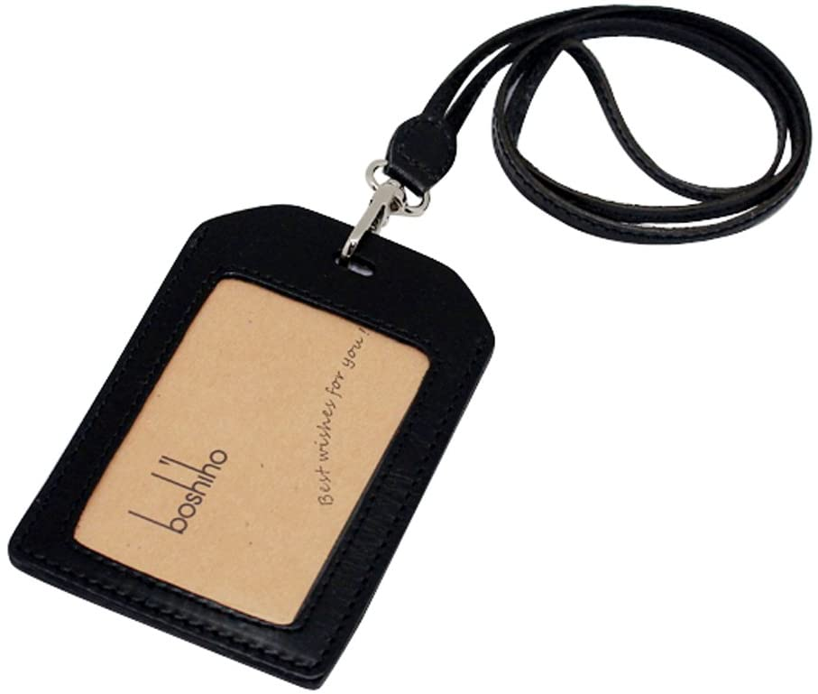 Boshiho Genuine Leather ID Card Badge Holder with Heavy Duty Lanyard Vertical Style (Black)