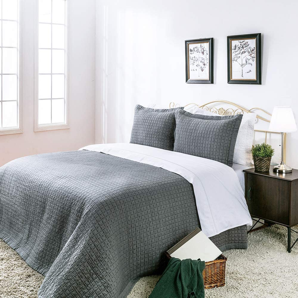 ELEGANT LIFE HOME Cotton Chambray Cross Pic-Stitch Bedding Quilt - Queen 88'' x 92''