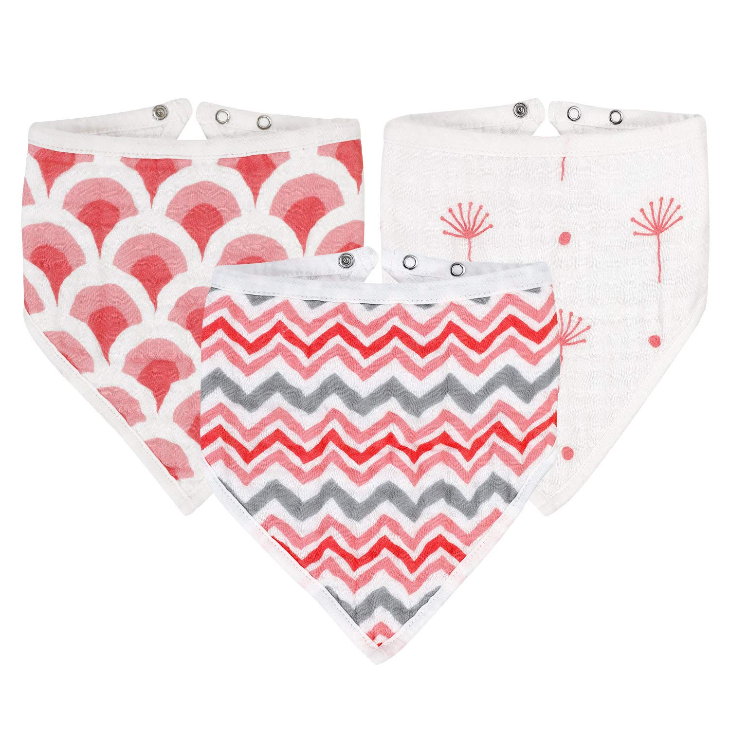 Bandana Baby Bib, Baby Girl Bibs 100% Cotton Muslin, 6 Layer Burp Cloth, Super Soft & Absorbent for Infants, Newborns and Toddlers, Adjustable with Snaps, 3 Pack (Style One)