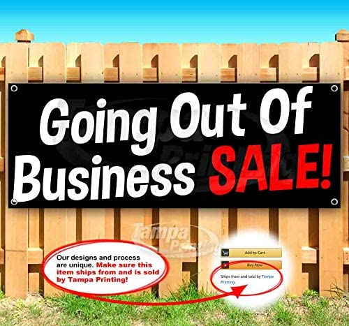 Going Out of Business Sale 13 oz Heavy Duty Vinyl Banner Sign with Metal Grommets, New, Store, Advertising, Flag, (Many Sizes Available)