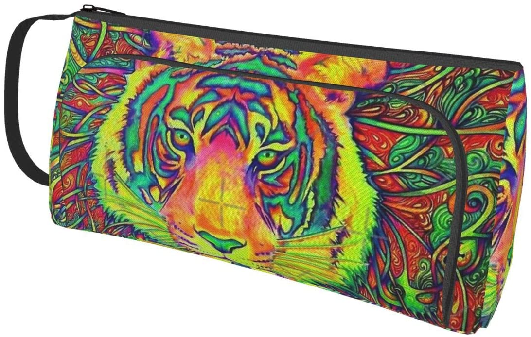 NiYoung Net Bag Pencil Cases for Adults Pen Pouch Small Cosmetic Bag (Psychedelic Tiger Colorful Animal Art)