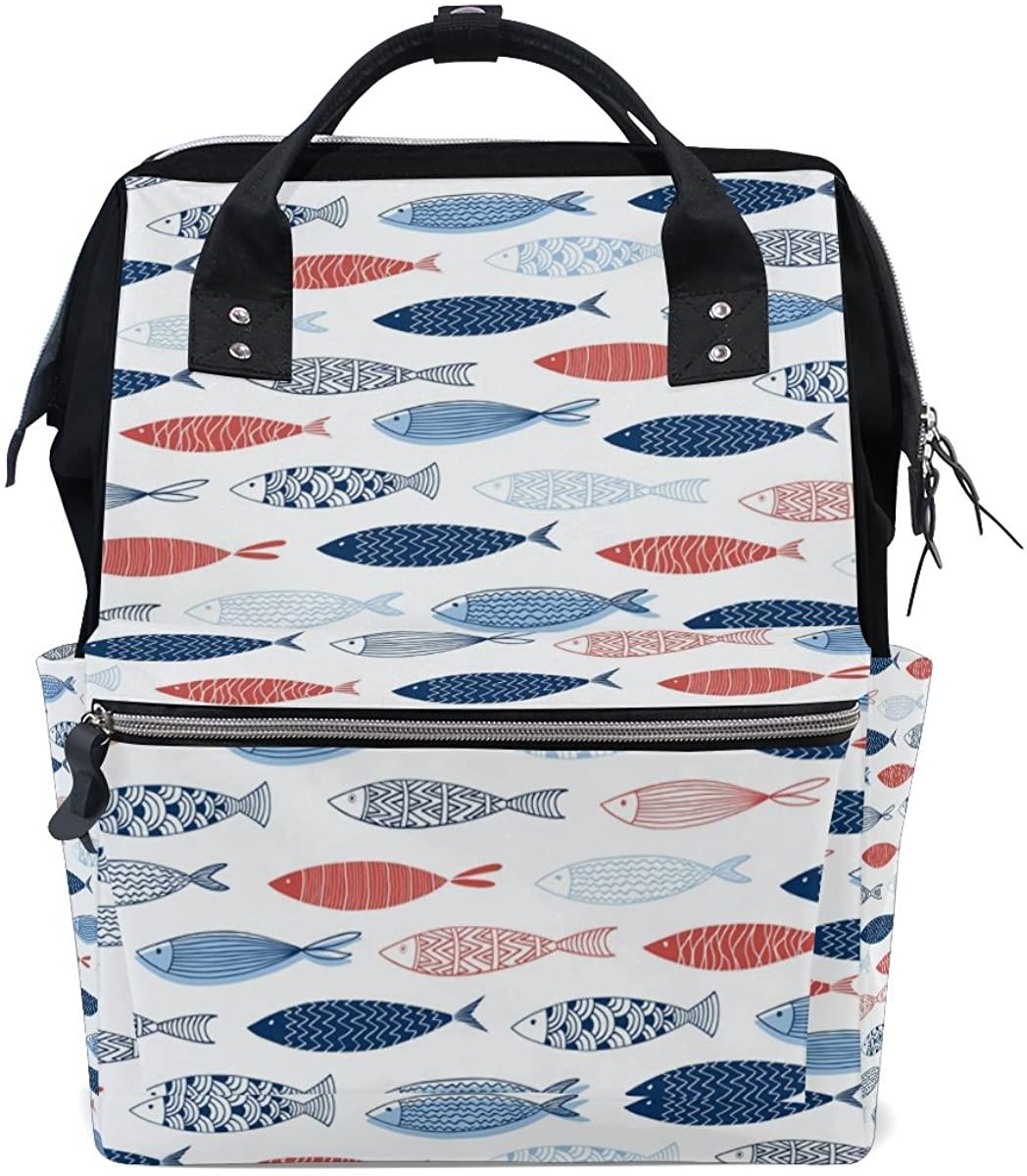 ALAZA Dolphin Fish Ocean Sea Backpack Mummy Nappy Travel Nurse Bag Tote Bag