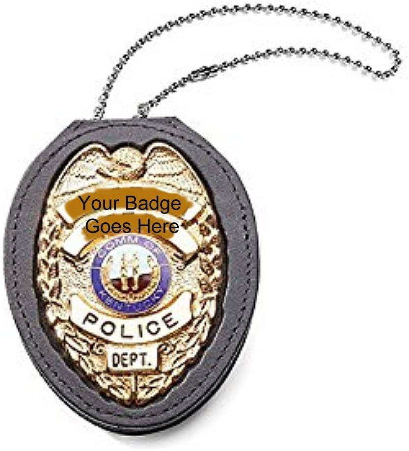 Clip on Leather Badge Holder with Chain #2520TABK
