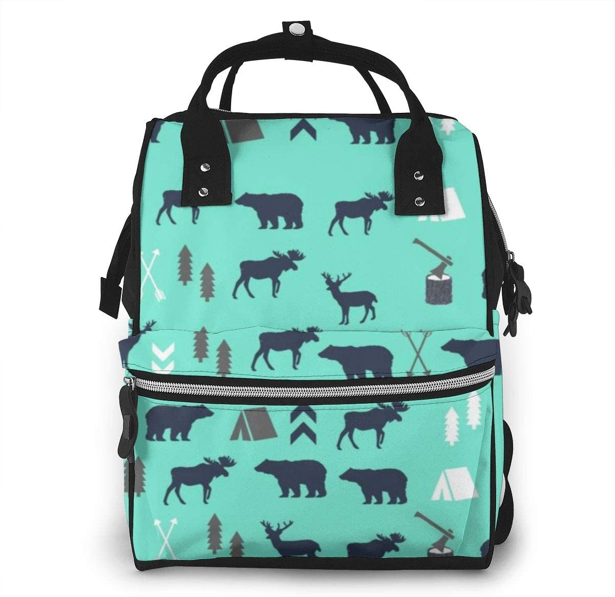 Diaper Bag Backpack,Multi-Function Waterproof Maternity Baby Nursing Nappy Back Pack for Boy/Girl on Travel with Stroller Straps,Mint Grey Navy Blue Bear Moose Forest Arrow Pattern
