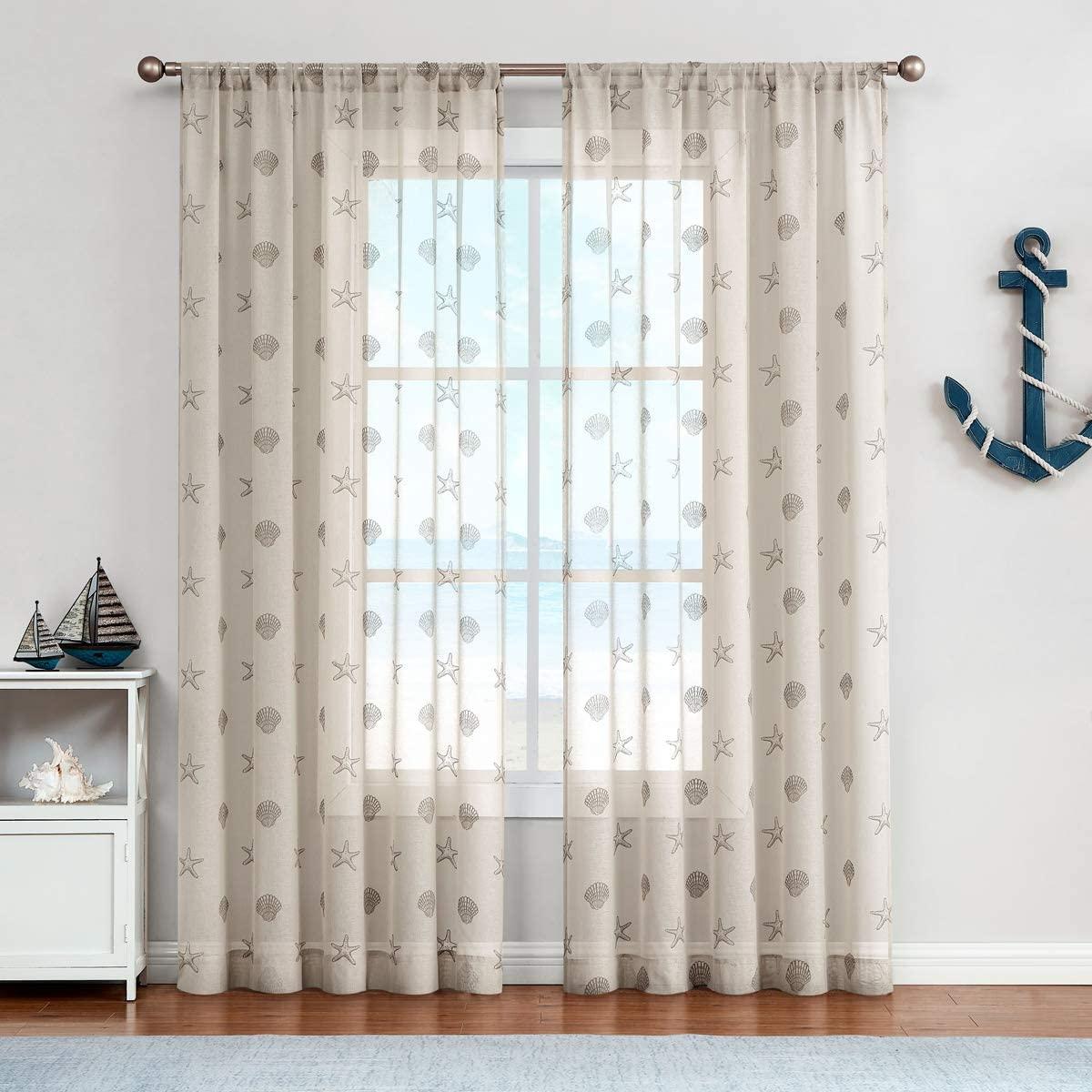 jinchan Beige 63 Inch Seashells Pattern Tan Sheer Curtains Living Room Darpes Window Sheers for Bedroom Beach Curtain Panels 63 Inch Summer 2 Panels