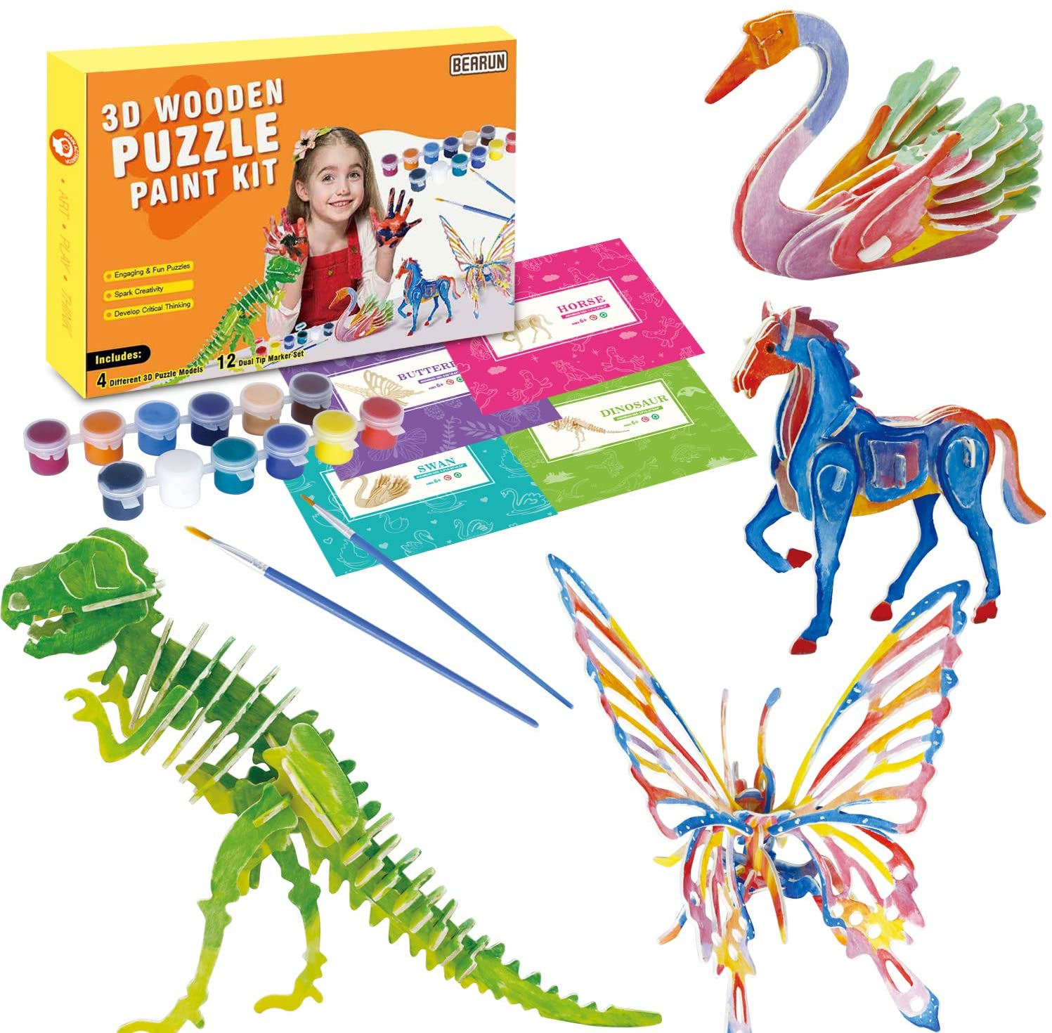 3D Wooden Puzzle Painting Kit - Arts and Crafts Supplies Educational Toys for Boys Girls Age 6+ Years Old Kid Creativity Fun Activities for Kids Paint Your Own Animal Set