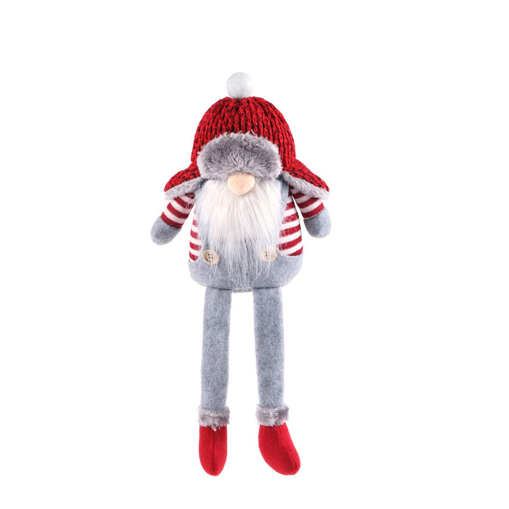 Santa Gnome Plush Toys Christmas Gnome Elf Stuffed Dwarf Doll Soft Sleeping Pillow Doll for Child Adult Household Ornaments Displaying Cuddling Home Decoration(A