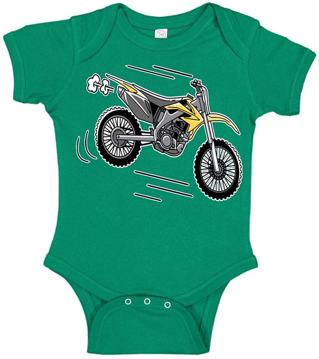 Wild Bobby Yellow Fast Dirt Bike Humor Baby Creeper Boys Girls Infant Bodysuit