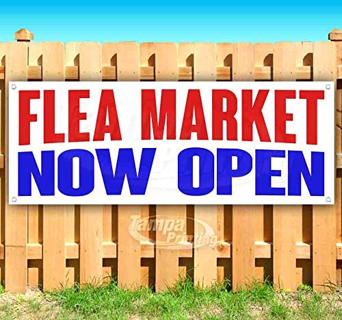 FLEA Market Now Open 13 oz Heavy Duty Vinyl Banner Sign with Metal Grommets, New, Store, Advertising, Flag, (Many Sizes Available)