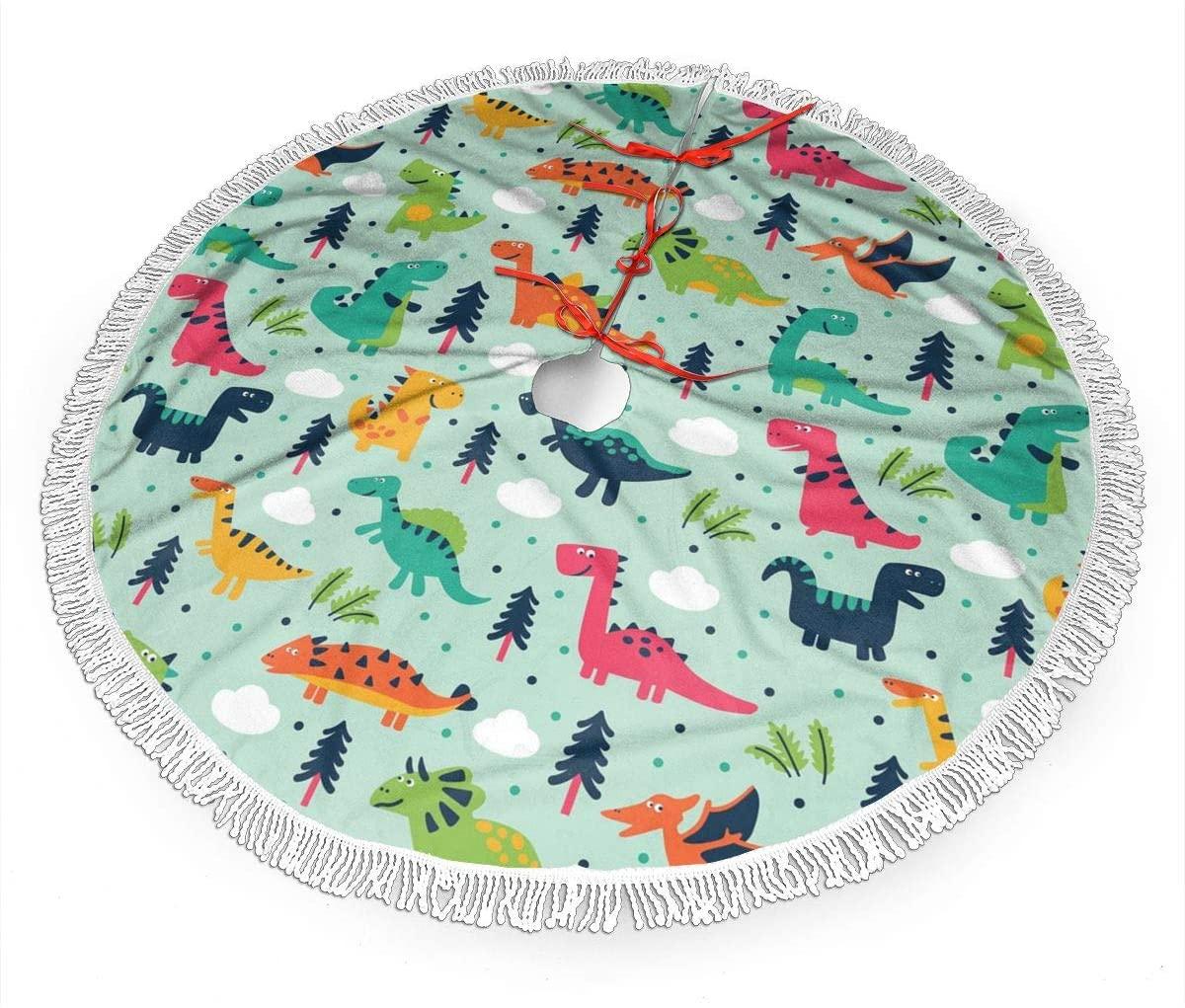 MSGUIDE Green Dinosaur Forest Christmas Tree Skirt 48