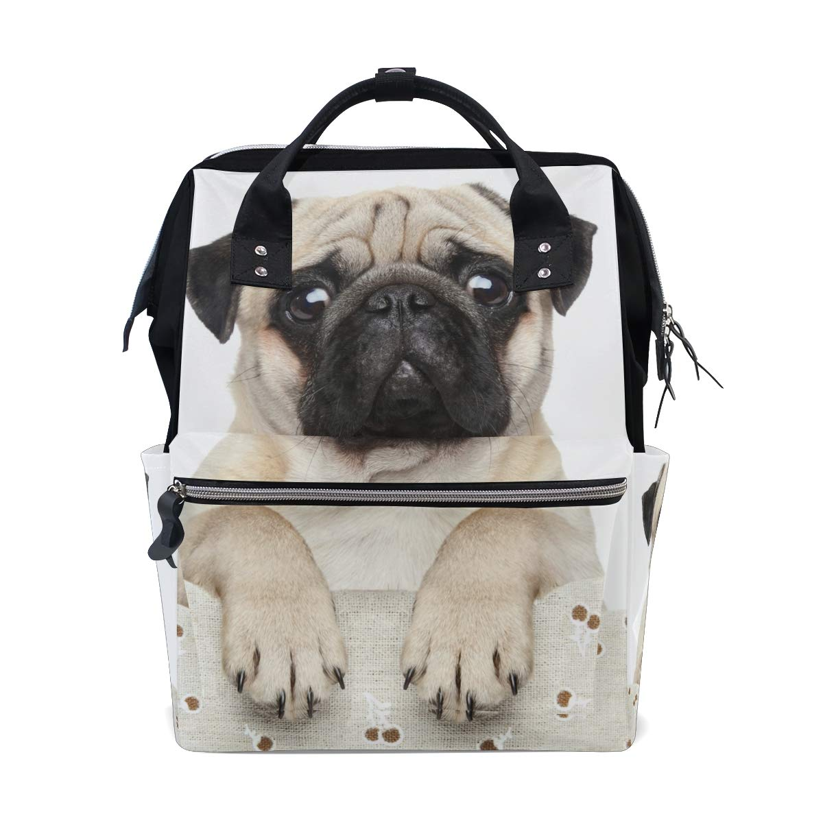 MERRYSUGAR Diaper Bag Backpack Travel Bag Large Multifunction Waterproof Animal White Puppy Dog Pug Stylish and Durable Nappy Bag for Baby Care School Backpack