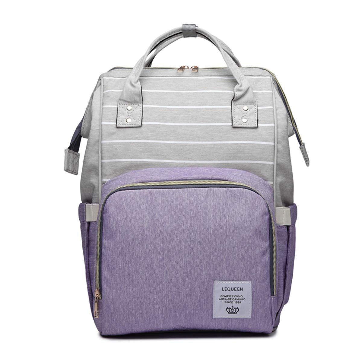 Mommy Maternity Stripe Nappy Diaper Backpack Travel Large Spacious Tote Shoulder Bag Nursing Organizer Bag (Grey+Purple)